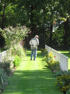Looking for Toby's grave in the Adegem Canadian Military Cemetery  in Belgium.