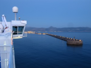 Sailing into Heraklion port at 6:00 a.m.